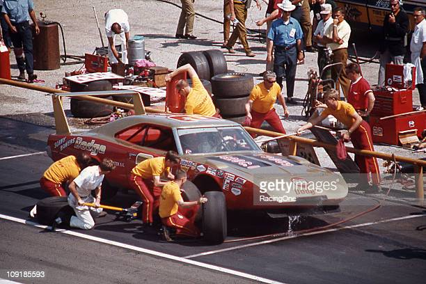 Bobby Allison pits his Mario Rossi Dodge Charger Daytona during a NASCAR Cup race at Darlington Raceway Allison finished 20th in the 1970 Rebel 400...
