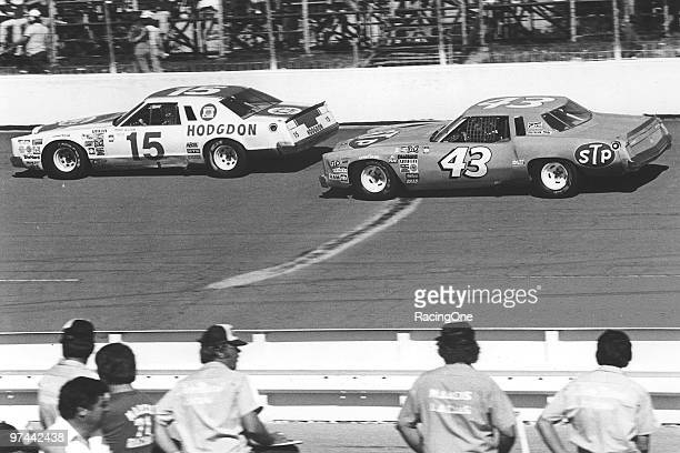 Bobby Allison's Ford leads the Chevrolet of Richard Petty at Dover After struggling with the Dodge Magnum through the middle of 1978 Petty switched...