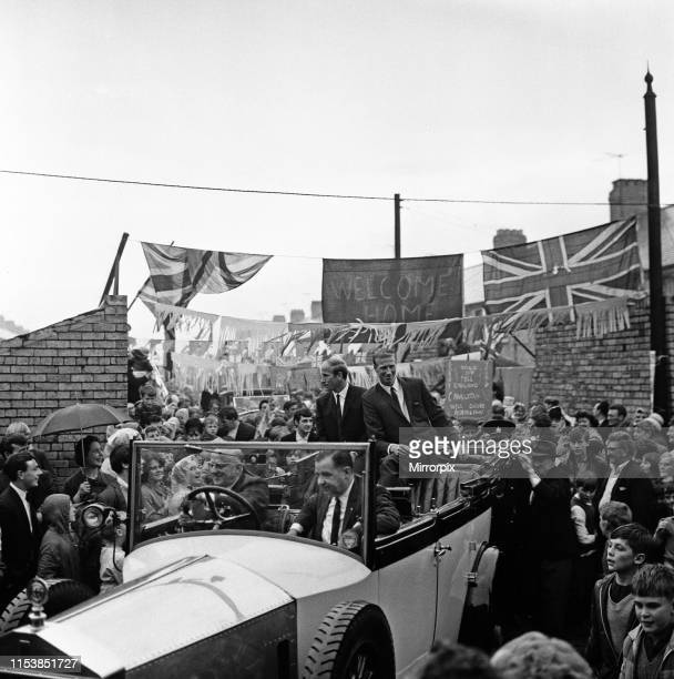 Bobby and Jack Charlton leave their mothers house in Ashington Northumberland to go to a civic reception following the World Cup win 18th August 1966