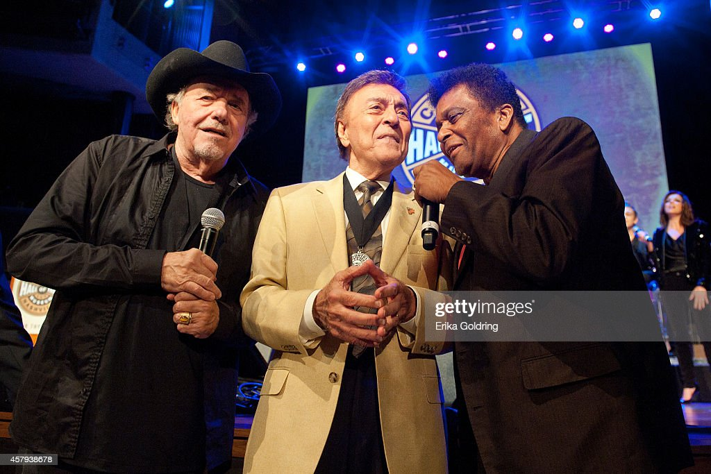 Bobby Bare, Ray Walker of The Jordanaires and Charley Pride perform during the 2014 Country Music Hall of Fame induction ceremony at Country Music Hall of Fame and Museum on October 26, 2014 in Nashville, Tennessee.