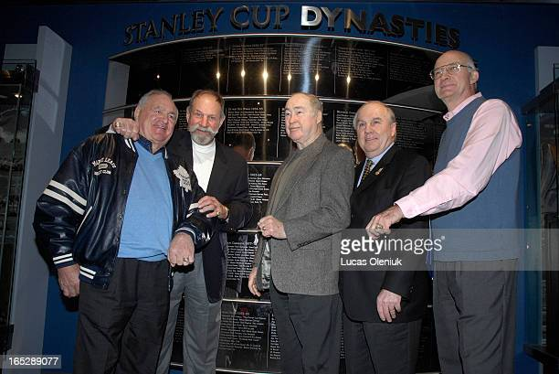 Bobby Baun Eddie Shack Red Kelly Ron Ellis and Brian Conacher show off their 1967 Stanley Cup Champion rings at the Hockey Hall of Fame Wednesday...