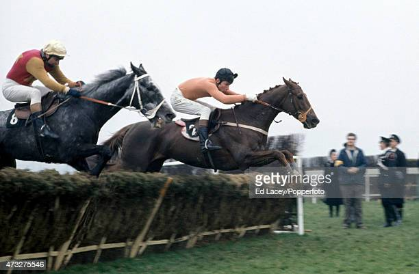 Bobby Beasley riding Yenisei and John Francome riding Calzado in action during the Champion Hurdle Challenge Cup at Cheltenham Racecourse in...