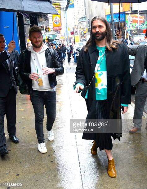 Bobby Berk and Jonathan Van Ness are seen outside Good Morning America on March 21 2019 in New York City