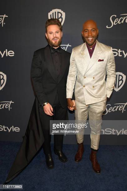 Bobby Berk and Karamo Brown attends The 2020 InStyle And Warner Bros. 77th Annual Golden Globe Awards Post-Party at The Beverly Hilton Hotel on...