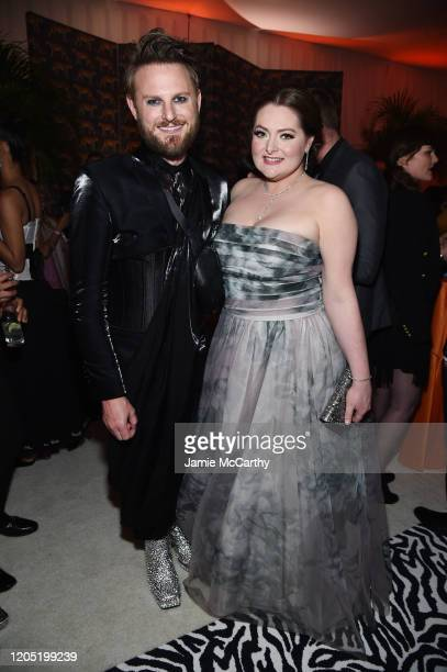 Bobby Berk and Lauren Ash attend the 28th Annual Elton John AIDS Foundation Academy Awards Viewing Party sponsored by IMDb, Neuro Drinks and Walmart...