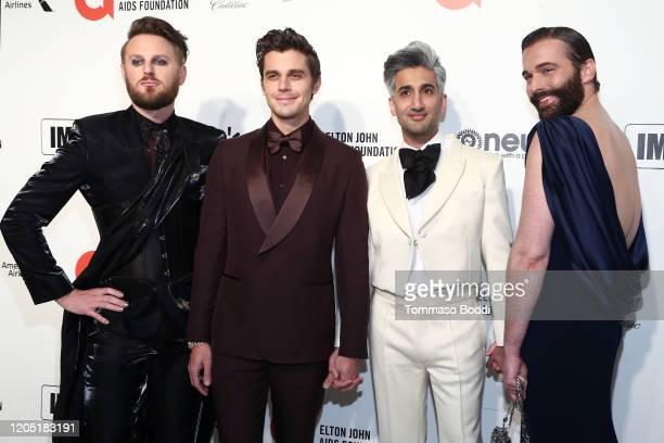 Bobby Berk Antoni Porowski Tan France and Jonathan Van Ness walk the red carpet at the Elton John AIDS Foundation Academy Awards Viewing Party on...