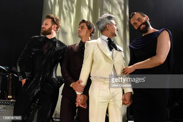 Bobby Berk Anyoni Porowski Tan France and Jonathan Van Ness attend the 28th Annual Elton John AIDS Foundation Academy Awards Viewing Party sponsored...