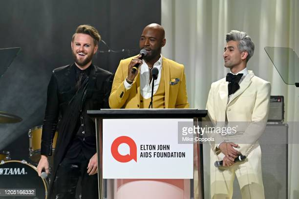 Bobby Berk Karamo Brown and Tan France speak on stage at the 28th Annual Elton John AIDS Foundation Academy Awards Viewing Party sponsored by IMDb...