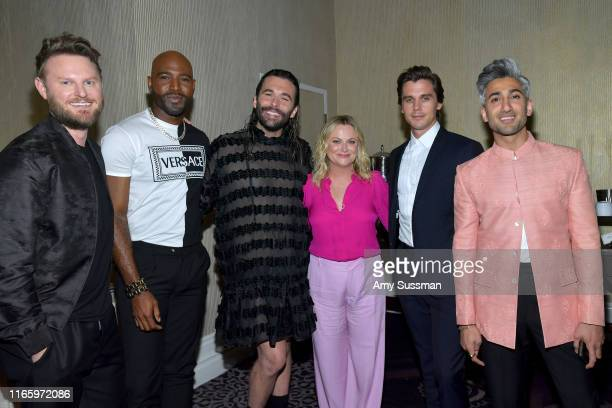 Bobby Berk, Karamo Brown, Jonathan Van Ness, Amy Poehler, Antoni Porowski and Tan France attend the TCA Awards at The Beverly Hilton Hotel on August...