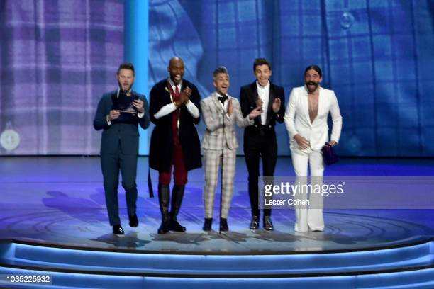 Bobby Berk Karamo Brown Tan France Antoni Porowski and Jonathan Van Ness speak onstage during the 70th Emmy Awards at Microsoft Theater on September...