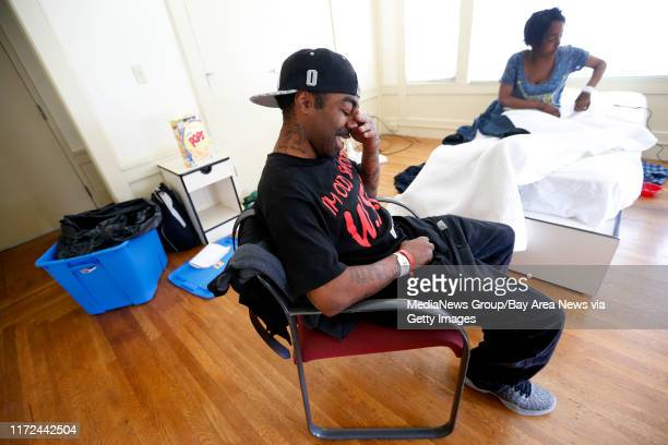 Bobby Bishop left and his wife Shemia right are photographed in their room at the Rosa Parks House on Thursday April 6 in Oakland Calif The couple...