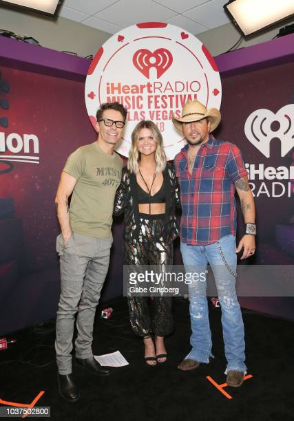 Bobby Bones Amy and Jason Aldean attend the 2018 iHeartRadio Music Festival at TMobile Arena on September 21 2018 in Las Vegas Nevada