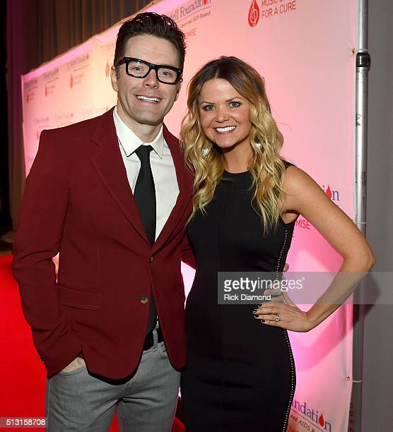 Bobby Bones and Amy Brown attend the TJ Martell Foundation 8th Annual Nashville Honors Gala at the Omni Nashville Hotel on February 29 2016 in...