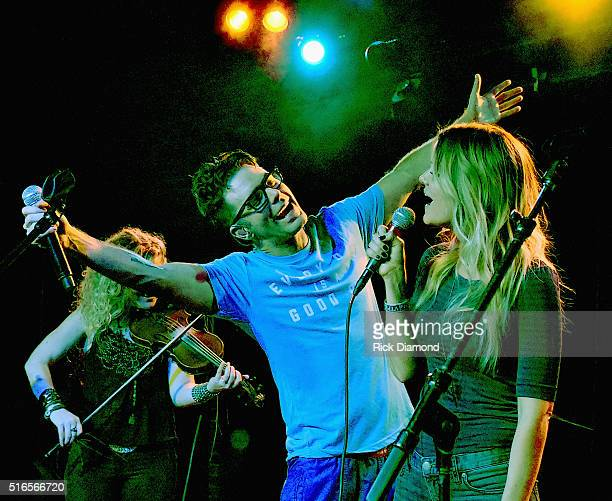 Bobby Bones and Amy from Bobby Bones Show perform at Bobby Bones And The Raging Idiots SOLD OUT Album Release Concert on March 18 2016 in Nashville...