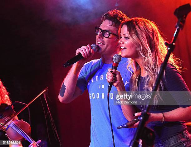 Bobby Bones and Amy from The Bobby Bones Show perform at Bobby Bones And The Raging Idiots SOLD OUT Album Release Concert on March 18 2016 in...