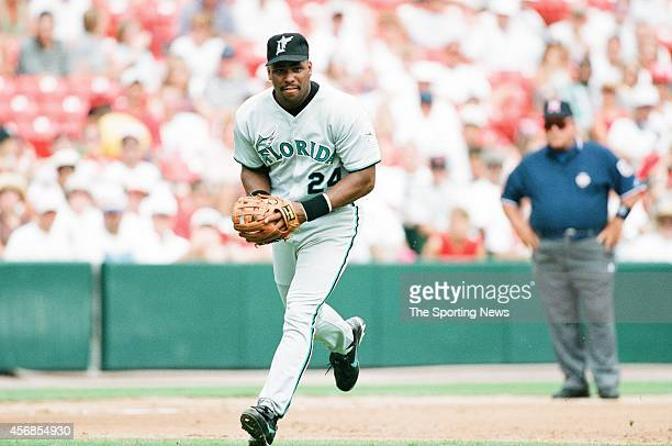 Bobby Bonilla of the Florida Marlins fields against the St Louis Cardinals at Busch Stadium on July 27 1997 in St Louis Missouri