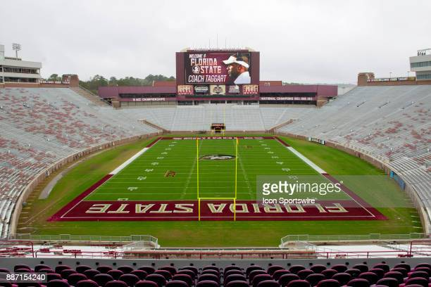 Bobby Bowden Field at Doak Campbell stadium jumbotron welcomes new head coach Willie Taggart during the introductory press conference of Florida...