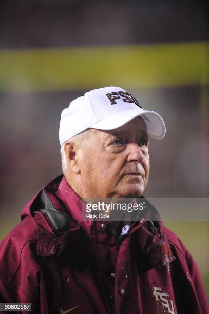 Bobby Bowden Florida State Seminoles Head Coach watches his team during pre game warmup against the Jacksonville State Gamecocks at Doak Campbell...