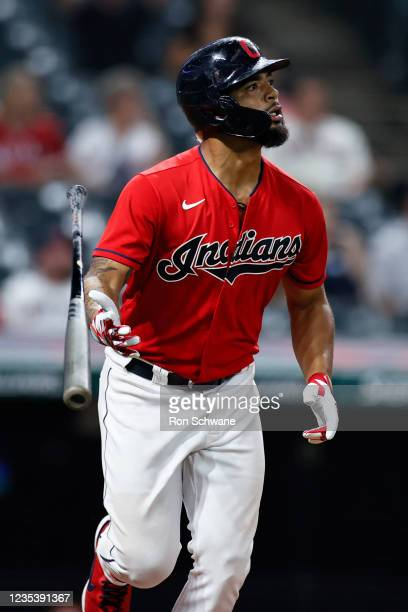 Bobby Bradley of the Cleveland Indians hits a solo home run off Scott Barlow of the Kansas City Royals in the seventh inning during game two of a...