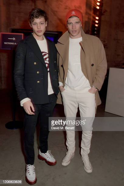 Bobby Brazier and Toby HuntingtonWhiteley attend the TOMMYNOW London Spring 2020 at Tate Modern on February 16 2020 in London England