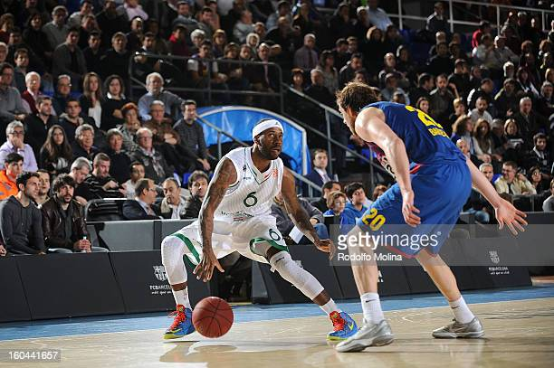 Bobby Brown #6 of Montepaschi Siena in action during the 20122013 Turkish Airlines Euroleague Top 16 Date 6 between FC Barcelona Regal v Montepaschi...
