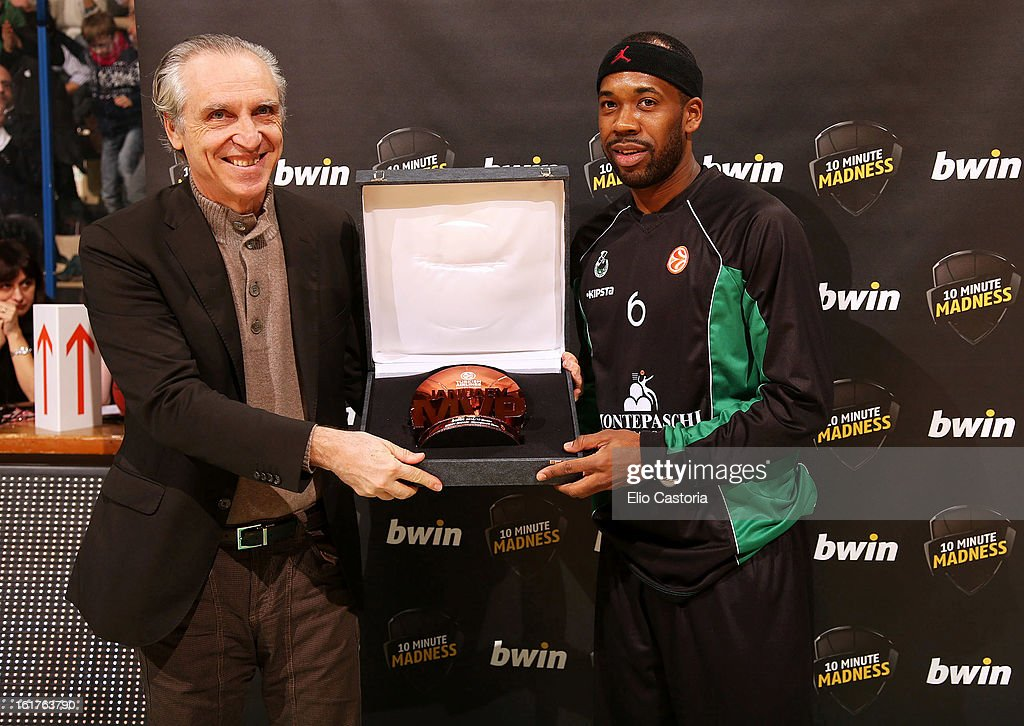 Bobby Brown, #6 of Montepaschi Siena is presented with his bwin MVP award for January during the 2012-2013 Turkish Airlines Euroleague Top 16 Date 7 between Montepaschi Siena v Caja Laboral Vitoria at Palaestra on February 15, 2013 in Siena, Italy.