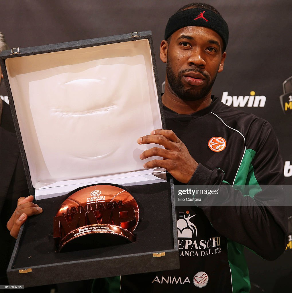 Bobby Brown, #6 of Montepaschi Siena poses with his bwin MVP award for January during the 2012-2013 Turkish Airlines Euroleague Top 16 Date 7 between Montepaschi Siena v Caja Laboral Vitoria at Palaestra on February 15, 2013 in Siena, Italy.