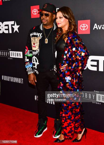 Bobby Brown and Alicia Etheredge arrive at the premiere screening of 'The Bobby Brown Story' at Paramount Theatre on August 29 2018 in Hollywood...