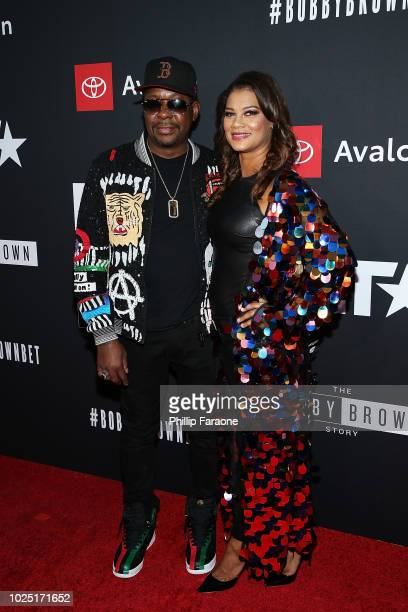 Bobby Brown and Alicia Etheredge attend BET and Toyota present the premiere screening of 'The Bobby Brown Story' at Paramount Theatre on August 29...