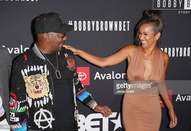 Bobby Brown and Alyssa Goss attend the premiere screening of The Bobby Brown Story presented by BET and Toyota at the Paramount Theatre on August 29...