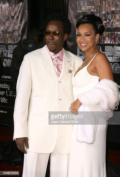 Bobby Brown and LisaRaye during BET 25th Anniversary Show Arrivals at Shrine Auditorium in Los Angeles California United States