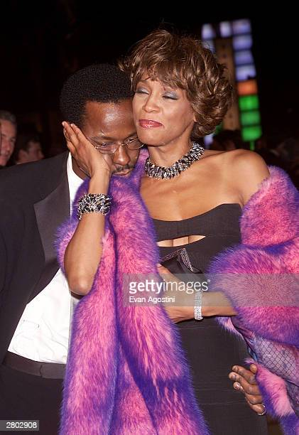 Bobby Brown and Whitney Houston arrive at the Vanity Fair Oscar party at Morton's Restaurant in Los Angeles Sunday night March 25 2001 Singer Bobby...