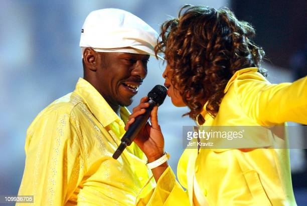 Bobby Brown and Whitney Houston during VH1 Divas Duets A Concert to Benefit the VH1 Save the Music Foundation Show at MGM Grand in Las Vegas Nevada...