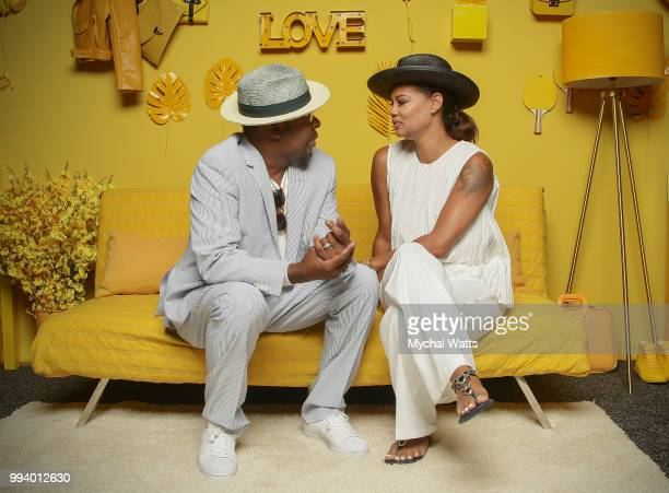 Bobby Brown and wife Alicia Etheredge Brown Exc Producers of the Bobby story pose together during his appearance at the 2018 Essence Music Festival...