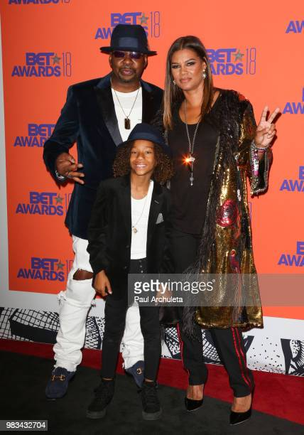 Bobby Brown Cassius Brown and Alicia Etheredge pose for photos in the press poom at the 2018 BET Awards at Microsoft Theater on June 24 2018 in Los...