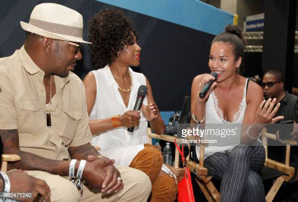 Bobby Brown Gabrielle Dennis and Alyssa Goss speak at the House of Fashion Beauty during the 2018 BET Experience at Los Angeles Convention Center on...