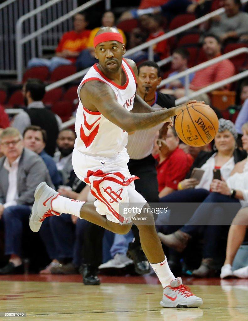 Bobby Brown #6 of Houston Rockets controls a loose ball in the first half against the Shanghai Sharks at Toyota Center on October 5, 2017 in Houston, Texas.