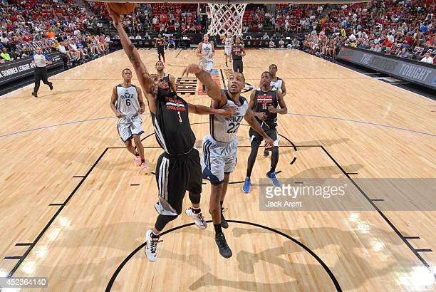 Bobby Brown of the Portland Trail Blazers shoots against the Utah Jazz at the Samsung NBA Summer League 2014 on July 18 2014 at the Thomas Mack...