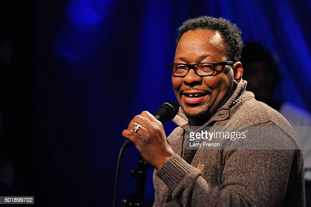 Bobby Brown performs on SiriusXM's Up Close Personal hosted by Cayman Kelly at SiriusXM Studio on December 18 2015 in Washington DC