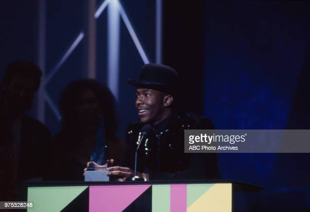 Bobby Brown receiving award on the 17th Annual American Music Awards Shrine Auditorium January 22 1990