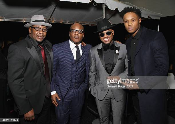 Bobby Brown Sean Garrett NeYo and Avery Wilson pose backstage during The BET Honors 2015 at Warner Theatre on January 24 2015 in Washington DC