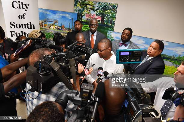 Bobby Brown speaks to press during the Proclamation to Bobby Brown To Honor the 'Bobbi Kristina Serenity House' at South Fulton City Hall on July 30...