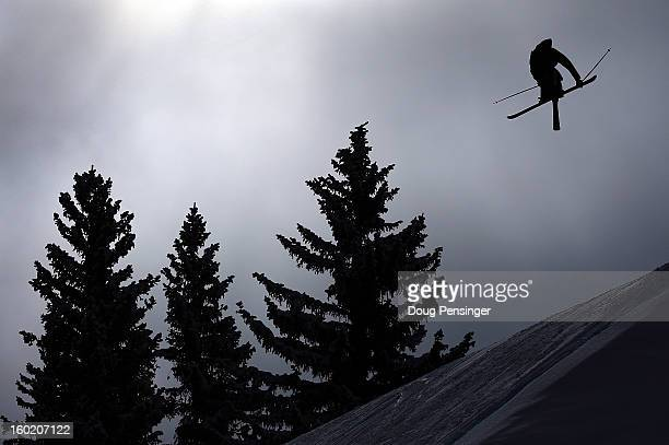 Bobby Brown spins through the air during the Men's Ski Slopestyle Final during Winter X Games Aspen 2013 at Buttermilk Mountain on January 27 2013 in...