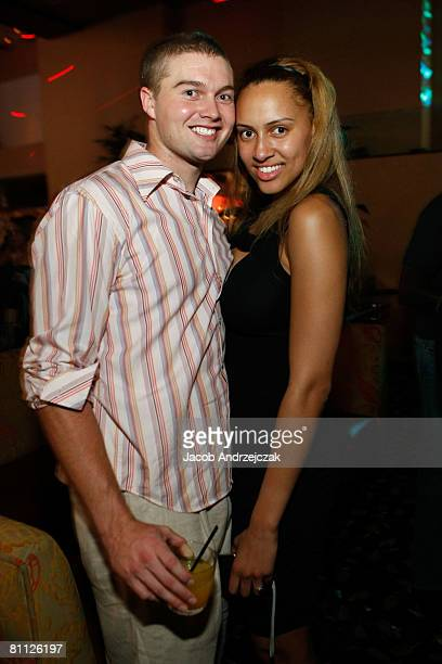 Bobby Bunfil and Alexis Rodman celebrate at Hawaiian Tropic Zone's 'Torrid' Nightclub inside the Planet Hollywood Resort Casino on May 16 2008 in Las...