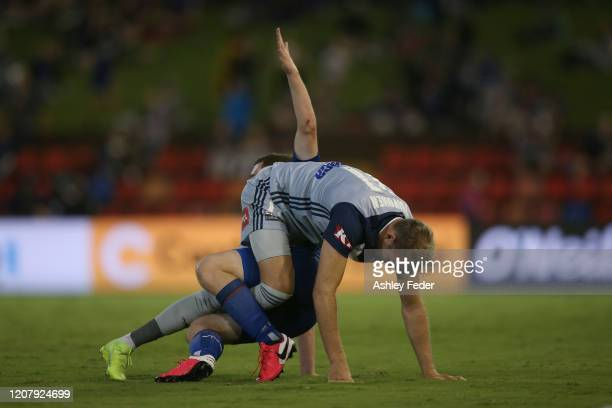 Bobby Burns of the Newcastle Jets and Ola Toivonen of Melbourne Victory during the round 20 A-League match between the Newcastle Jets and the...
