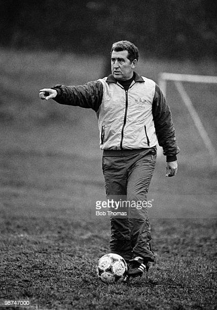 Bobby Campbell coach of Queens Park Rangers at a training session held in London on 31st December 1984