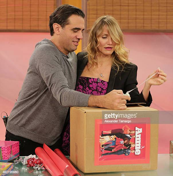 Bobby Cannavale and Cameron Diaz on the set of Univision's Despierta America to promote the movie 'Annie' at Univision Headquarters on December 9...