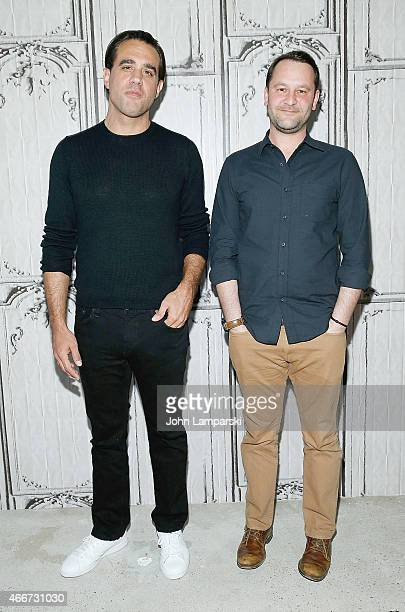 Bobby Cannavale and Dan Fogelman pose during the Danny Collins AOL Build Speaker Series at AOL Studios In New York on March 18 2015 in New York City