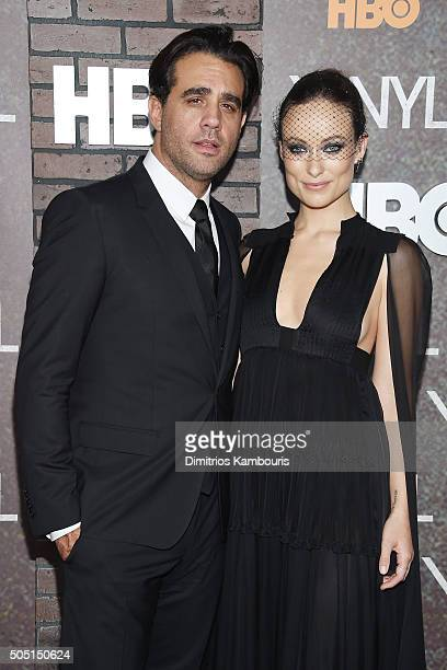 Bobby Cannavale and Olivia Wilde attend the New York premiere of 'Vinyl' at Ziegfeld Theatre on January 15 2016 in New York City