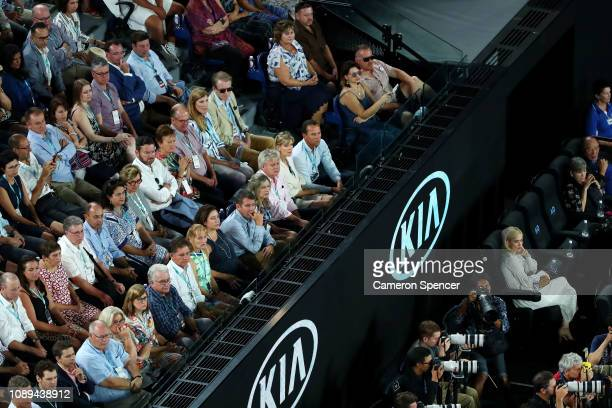 Bobby Cannavale and Rose Byrne during the Women's Singles Final match between Petra Kvitova of the Czech Republic and Naomi Osaka of Japan during day...